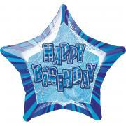 Folienballon Glitz Stern HB blau 50cmØ
