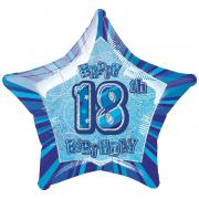 Folienballon 18th Birthday Glitz blau ø50cm
