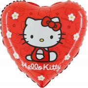 Folienballon Hello Kitty Gänsebl. Herz rot ø45cm