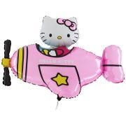Folienballon Hello Kitty Flugzeug pink 70x90cm MET