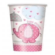 8 Pappbecher Elefant Baby Shower pink