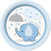 8 Pappteller Elefant Baby Shower blau ø23cm
