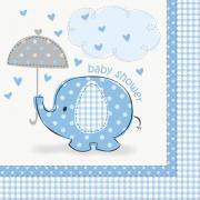 16 Servietten Elefant Baby Shower blau 33cm