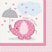 16 Servietten Elefant Baby Shower pink 33cm