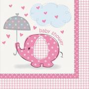 16 Servietten Elefant Baby Shower pink 33cm
