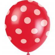6 Latexballons Dots Rot ø30cm
