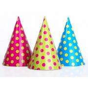 6 Partyhüte Dots Neon-Mix