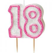 Kerze Zahl #18 Glitzer Pink