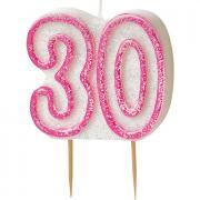 Kerze Zahl #30 Glitzer Pink