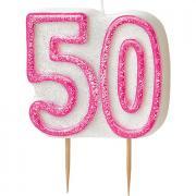 Kerze Zahl #50 Glitzer Pink
