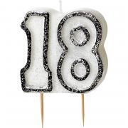 Kerze Zahl #18 Glitzer Schwarz