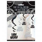 6 Swirl-Hängedekos Happy Birthday Schwarz Glitz