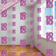 6 Hängegirlanden Zahl #18 Glitzernd Pink