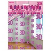 6 Hängegirlanden Zahl #30 Glitzernd Pink