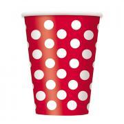6 Pappbecher Dots Rot 354ml