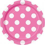 8 Pappteller Dots Pink ø18cm