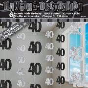 6 Hängegirlanden Zahl #40 Glitzernd Schwarz