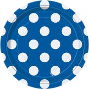 8 Pappteller Dots Blau ø18cm