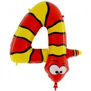 Tier Ballon Zahl 4 Schlange