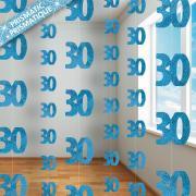 6 Hängegirlanden Zahl #30 Glitzernd Blau