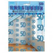 6 Hängegirlanden Zahl #50 Glitzernd Blau