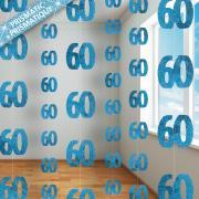 6 Hängegirlanden Zahl #60 Glitzernd Blau