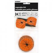 Cupcake-Kit Spinnweben orange/schwarz