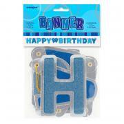 Buchstabengirlande Happy Birthday Glitzer Blau