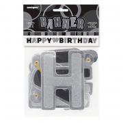 Buchstabengirlande Happy Birthday Glitzer Schwarz