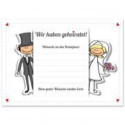 50 Weitflugkarten Hochzeit Comic