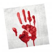 20 Servietten blutige Hand 33cm