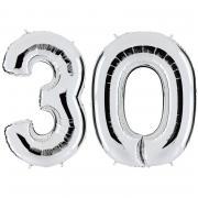 Ballon Riesenzahl-Set 30 Silber