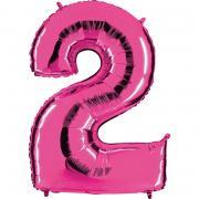 Ballon Riesenzahl Zwei 2 Pink