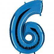 Ballon Riesenzahl Sechs 6 Blau