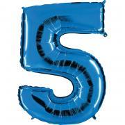 """Ballon Riesenzahl Fünf 5 Blau 40""""/101cm"""
