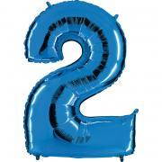 Ballon Riesenzahl Zwei 2 Blau