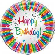 Folienballon Rainbow Ribbon Birthday ø45cm