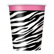 Pappbecher 8 Stück Zebra Pink