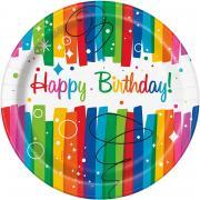 8 Pappteller Rainbow Ribbon Birthday ø23cm