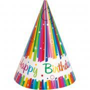 8 Partyhüte Rainbow Ribbon Birthday