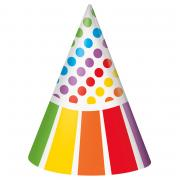 8 Partyhüte Happy Birthday Rainbow Party