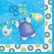 Servietten 16 Stück Baby Shower Blau Kleider