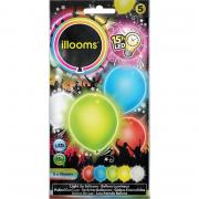 5 LED-Ballons illooms Farb-Mix ø23cm