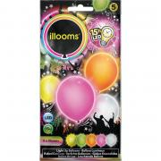5 LED-Ballons illooms Sommer-Mix ø23cm