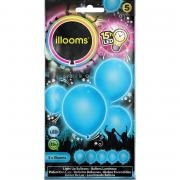 5 LED-Ballons illooms Blau ø23cm