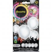 5 LED-Ballons illooms Weiß ø23cm