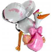 3D-Folienballon Baby-Girl Storch 157+66cm