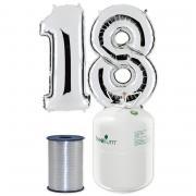 Helium Riesenzahl 18 silber mit Ballonband silber