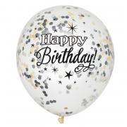 Latexballons Konfetti ø30cm silber-schwarz 6 Stück