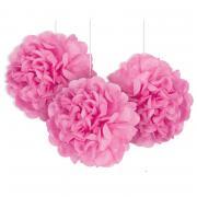 3 Pompoms Fluffy in Pink ø23cm